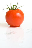 Splashed tomato. With water drops on a white surface Royalty Free Stock Images