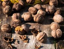 Splashed walnuts Stock Photo