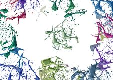 Splashes colored paint. Splashes of colors on a white background. Abstract for design, multicolored paint and lacquer Stock Image