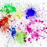Splashes of colorful ink on white background Royalty Free Stock Photography