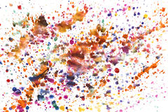 Splashes of colorful watercolor on a white background Royalty Free Stock Photo