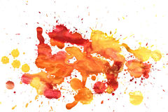 Splashes of colorful watercolor on a white background Stock Photography