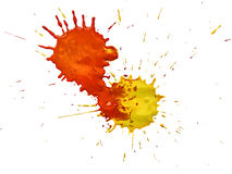 Splashes of colorful watercolor on a white background Royalty Free Stock Photography