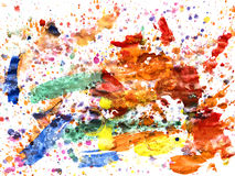 Splashes of colorful watercolor on a white background Royalty Free Stock Image