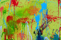 Splashes of different colours on canvas Holi Stock Images