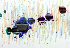 Splashes and drops of colored ink Stock Photo