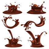 Splashes and drops of dark chocolate illustrations set Royalty Free Stock Images