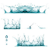 Splashes. Drops. Set of three water splashes and drops Stock Photo