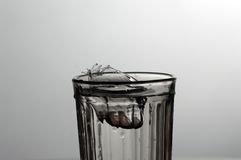 Splashes and drops of water in faceted glass. Riple Stock Photos