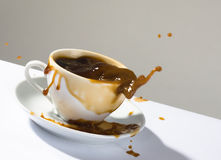 Splashes of hot coffee Stock Image