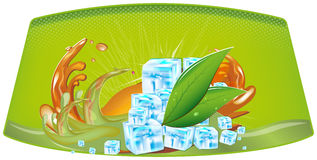Splashes of juice and ice cubes. Color splashes of juice and ice cubes Stock Photo