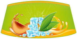 Splashes of juice and ice cubes. Color splashes of juice and ice cubes Royalty Free Stock Images