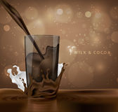 Splashes of milk with cocoa and chocolate Stock Photos