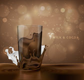 Splashes of milk with cocoa and chocolate Stock Photo