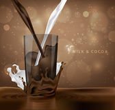 Splashes of milk with cocoa and chocolate Stock Photography