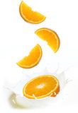 Splashes of milk with slices of orange fruit Royalty Free Stock Photos