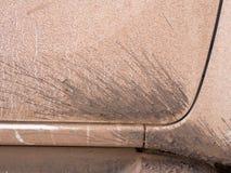 Splashes of mud on white car. Texture background. stock image