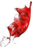 Splashes of red paint. Isolated on white background stock images
