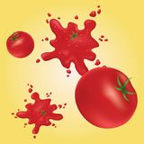 Splashes of red tomatoes on the wall. Yellow background. Red ripe tomatoes. Tomato seeds Vector Illustration