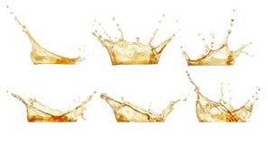 Splashes set isolated on white. Splashes collection. Juice or beer splashes set isolated on white royalty free stock images