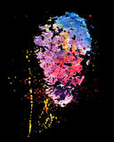 Splashes of watercolor paint on the black background. Vector ver Stock Photo