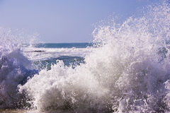 Splashes and waves of Mediterranean sea. Rough splashes at the Pathos coast Stock Images