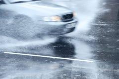 Splashing car Royalty Free Stock Photos