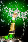 Splashing champagne. On a green background stock photography