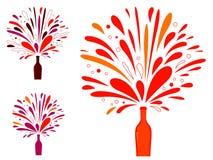 Splashing champagne or wine bottle Royalty Free Stock Photos