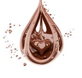 Splashing chocolate heart abstract background 3d rendering stock photography