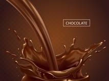 Splashing chocolate liquid Stock Photography