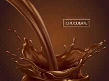 Splashing chocolate liquid. Tasty sweet chocolate  on transparent background as elements in 3d illustration Stock Photography