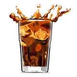 Splashing cola soft drink - vector illustration. Vector art illustration of ice splashing into a cold glass of cola Stock Photography