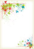 Splashing colorful floral frame Royalty Free Stock Image