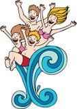 Splashing Family Royalty Free Stock Images