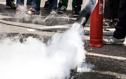 Splashing Foam from Fire Extinguisher Royalty Free Stock Image