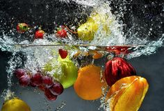 Splashing Fresh fruit 01