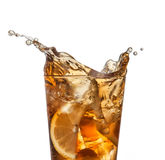 Splashing iced tea with lemon royalty free stock images