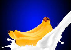 Splashing milk with banana Royalty Free Stock Image