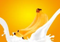 Splashing milk with banana Stock Image