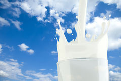 Free Splashing Milk In A Glass With Sky Background Stock Photography - 19053172