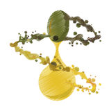 Splashing olive oil ripe graphic Royalty Free Stock Photography
