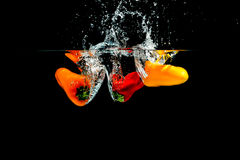Splashing Paprika Stock Photos