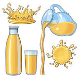 Splashing and pouring orange in bottle, glass, jug, vector illustration. Splashing and pouring orange juice in bottle, glass, jug, sketch vector illustration Stock Photo