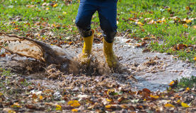 Splashing in puddle Royalty Free Stock Photos