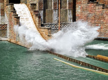 Splashing at rafting attraction Stock Photos