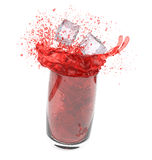 Splashing red drink Stock Photos