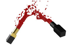 Splashing red lipstick Stock Photo