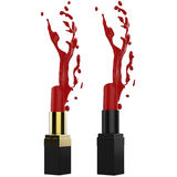 Splashing red lipstick Royalty Free Stock Photo