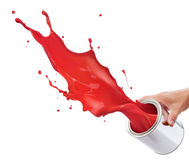 Splashing red paint Stock Photos